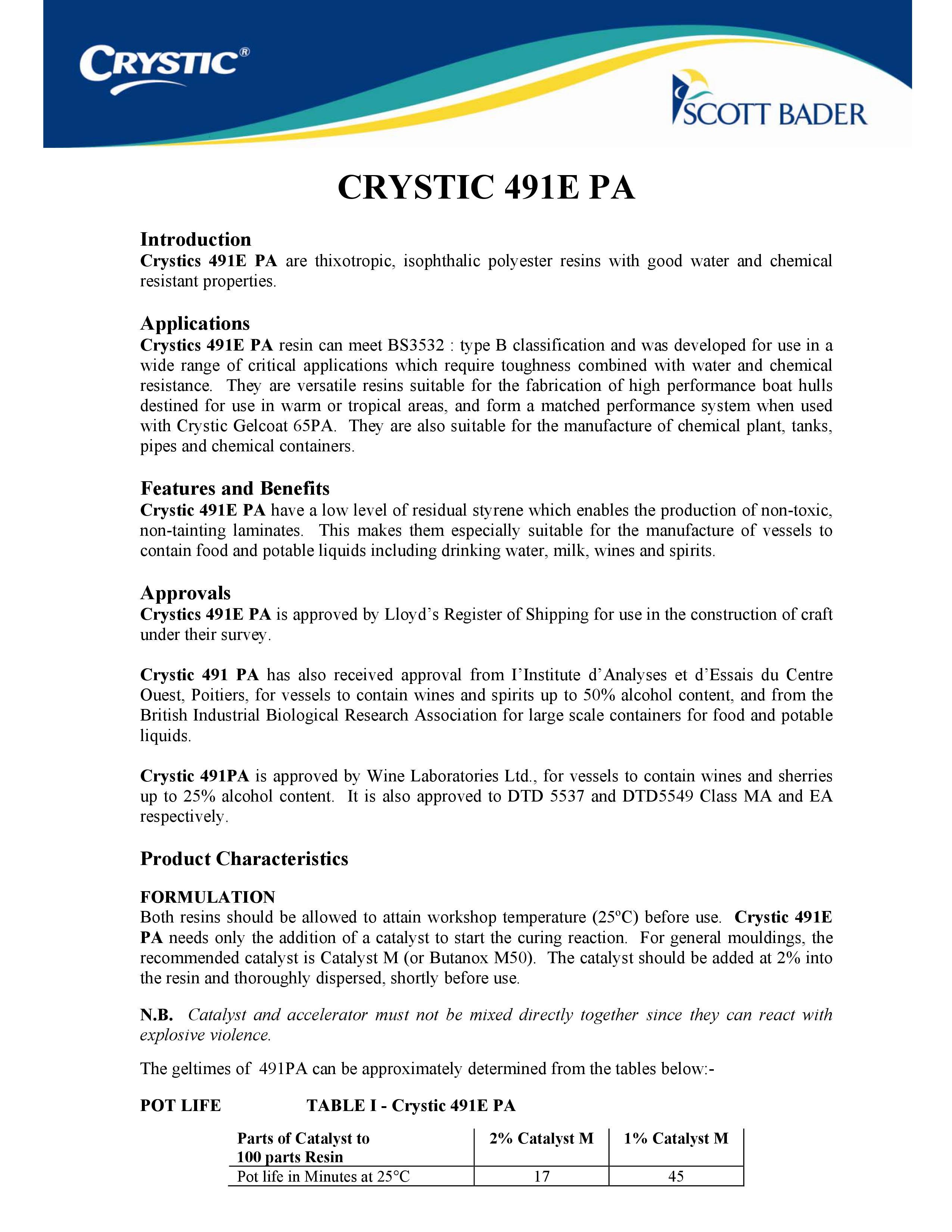 CRYSTIC 491E PA