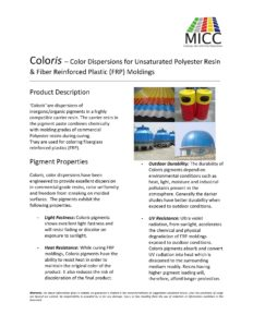 Coloris – Color Dispersions for Unsaturated Polyester Resin & Fiber Reinforced Plastic (FRP) Moldings